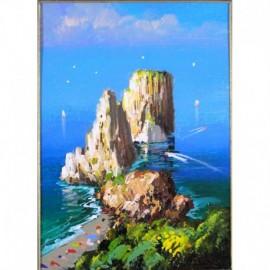 -LIQUIDAZIONE- Quadro ad olio: Capri I Faraglioni Interno 18x24 - Esterno 30x25 circa