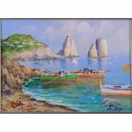 -LIQUIDAZIONE- Quadro ad olio: Capri Marina Piccola Interno 18x24 - Esterno 30x25 circa