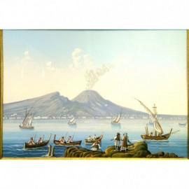 Gouache 31x24 - Napoli da Mergellina - Cornice in radica, passepartout color Carta da Zucchero
