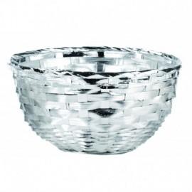 """Centrotavola""""PAGLIA"""" 21cm, argento su bamboo con ciotola interna in vetro"""
