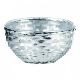 """Centrotavola """"PAGLIA"""" 24cm, argento su rattan con ciotola interna in vetro"""
