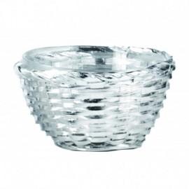"""Ciotolina """"PAGLIA"""" 13cm, argento su bamboo con ciotola interna in vetro"""