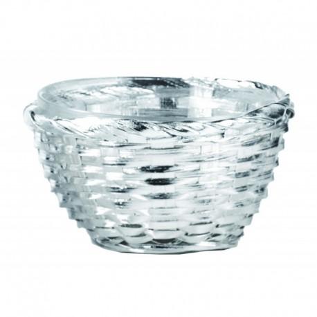 """Ciotolina """"PAGLIA"""" 13cm, argento su rattan con ciotola interna in vetro"""