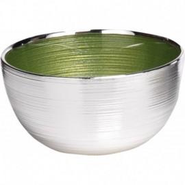 Ciotola, argento su vetro, SINFONIA 13cm - VERDE/ARGENTO