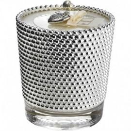 Candela, argento su vetro, FRAGRANCE 10,4cm h.11cm BOUCLE - BIANCO