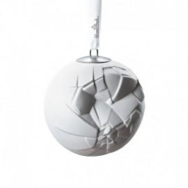 """-LIQUIDAZIONE- Palla di Natale 9.5cm """"Phases"""" - porcellana bianco satinato"""