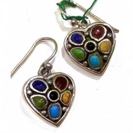 Orecchini 'Heart' argento 92.5% turchesi e pietre dure