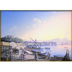 Gouache 30x35 Napoli dalla Riviera di Chiaja - Cornice in radica, passepartout color Carta da Zucchero