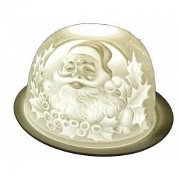 Portacandele in bisquit: Santa Claus e agrifoglio (040)