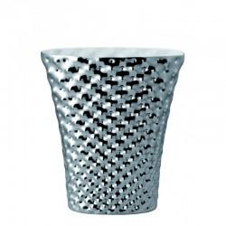 Vaso 32 cm ovale - Vibrations Platin verspiegelt