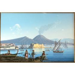 Gouache 31x24: Napoli Castel dell'Ovo - Cornice in radica, passepartout color Carta da Zucchero