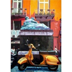 """-LIQUIDAZIONE- Stampa """"Corpo di Napoli arancio"""" 70*100 cm"""