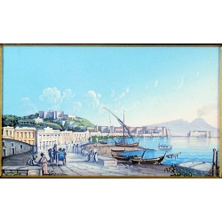 Gouache 30x24 cm: Napoli da Mergellina - Cornice in radica, passepartout color Carta da Zucchero