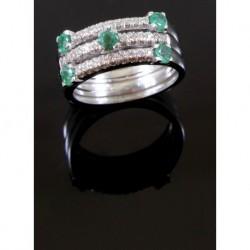 Anello A 3 Fedine Parallele In Oro Bianco, Con Diamantini E 5 Smeraldi | OZA