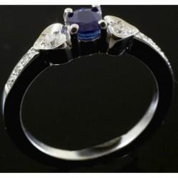 Anello a fedina, in Oro bianco, Zaffiro E Diamanti | LIA