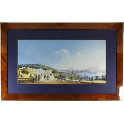 Gouache - Napoli, La Riviera di Chiaja (74*47 cm) - Cornice in radica, passepartout color Carta da Zucchero