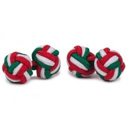 Gemelli Da Polso Nodi Elastici - Verde, Bianco E Rosso
