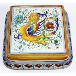 SCATOLA QUADRA cm.20 in Ceramica Deruta: decoro RAFFAELLESCO