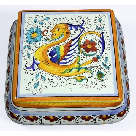 SCATOLA QUADRA BOMBATA, cm.20 in Ceramica Deruta: decoro RAFFAELESCO