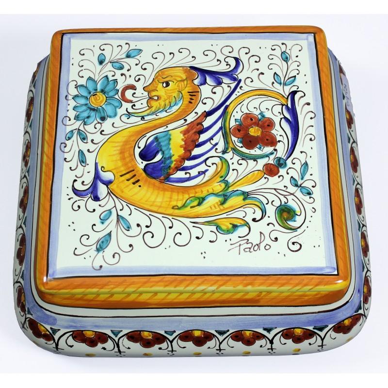 SCATOLA QUADRA cm.20 in Ceramica Deruta: decoro RAFFAELLESCO ...