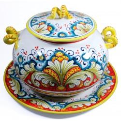 BISCOTTIERA CON PIATTO cm.30 in Ceramica Deruta: decoro RINASCIMENTO