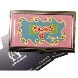 Portabiglietti da visita - metallo cromato e smaltato - rosa