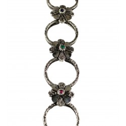 Bracciale Fiori: argento 800/ooo, zaffiri,rubini,smeraldi