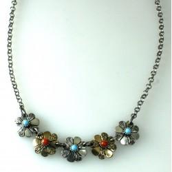 Collana fiori: argento 800/ooo, corallo, pasta di turchese