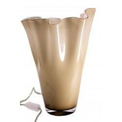 """Lampada a Led """"Fazzoletto"""" in vetro incamiciato bicolore (caramello ed interno bianco) 30cm"""