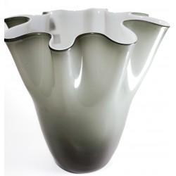 """Vaso """"Fazzoletto"""" in vetro incamiciato bicolore (grigio ed interno bianco) 24cm"""