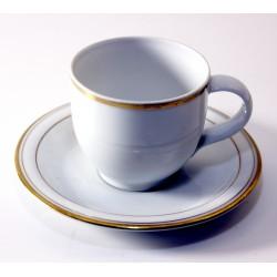 6 tazze da caffè in porcellana bordo oro zecchino - Mod. ARMONIA