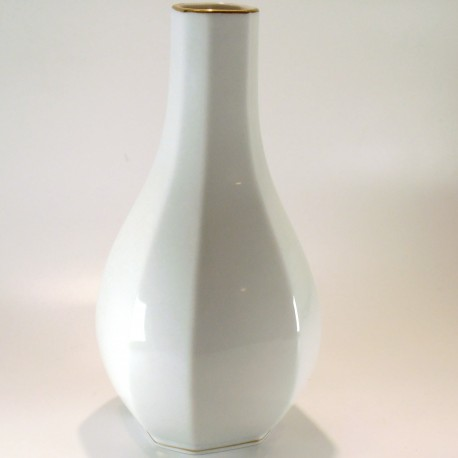 Vaso in porcellana a base ottagonale con filo oro – h.23cm – mod.Facette Gold