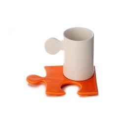 Tazza Caffè mod.Puzzle - piattino Bianco