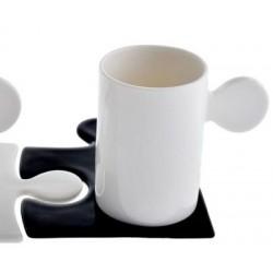 Tazza Caffè mod.Puzzle - piattino Nero