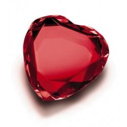 Fermacarte Cuore in cristallo Rosso 8cm