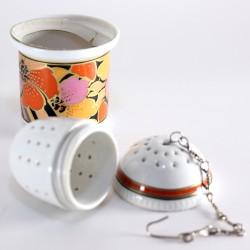 Filtro dosatore per tè in porcellana - decoro Tropica