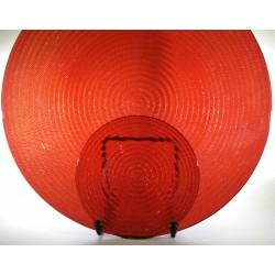Piatto torta 34cm + 6 piattini 16cm - Glitter RED