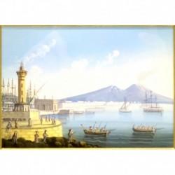 Gouache 30x35: Napoli veduta dal faro - Cornice in radica, passepartout color Carta da Zucchero