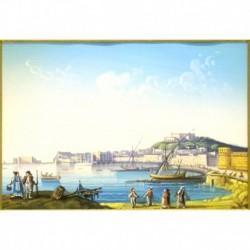 Gouache 30x35: Napoli dal Carmine - Cornice in radica, passepartout color Carta da Zucchero