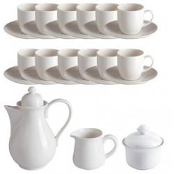 Servizio da caffè 15 pz (12 tazze caffè, zuccheriera, lattiera, caffettiera) Bianco Galassia