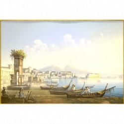 Gouache 30x35: Napoli Riviera di Mergellina - Cornice in radica, passepartout color Carta da Zucchero
