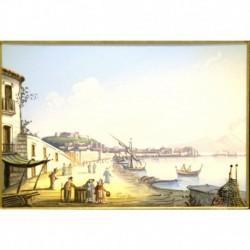Gouache 30x35: Napoli da Mergellina - Cornice in radica, passepartout color Carta da Zucchero