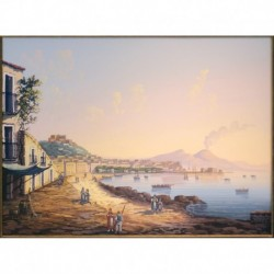 Gouache 35x42: Napoli da Mergelina - Cornice in radica, passepartout color Carta da Zucchero