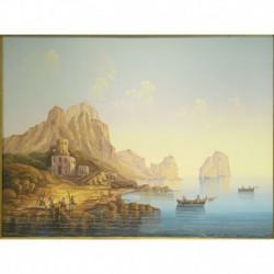 Gouache 35x41: Capri Marina Piccola - Cornice in radica, passepartout color Carta da Zucchero
