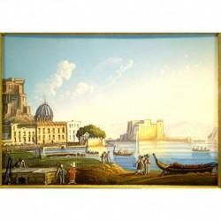 Gouache 30x35: Napoli Castel dell'Ovo - Cornice in radica, passepartout color Carta da Zucchero