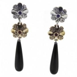Orecchini 2 fiori pendente onice (argento-rubino-zaffiro) – SilverBlack