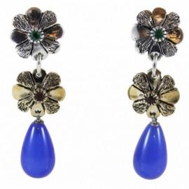Orecchini 2 fiori con pendente in agata blu (argento-rubino-zaffiro) – SilverBlack