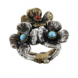 Anello Argento e bronzo con 3 fiori – SilverBlack