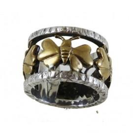 Anello Argento con farfalle in bronzo – SilverBlack