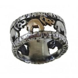 Anello Argento con elefantini in argento e in oro – SilverBlack